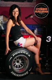 Racing Girl Tiina with F1 tyre