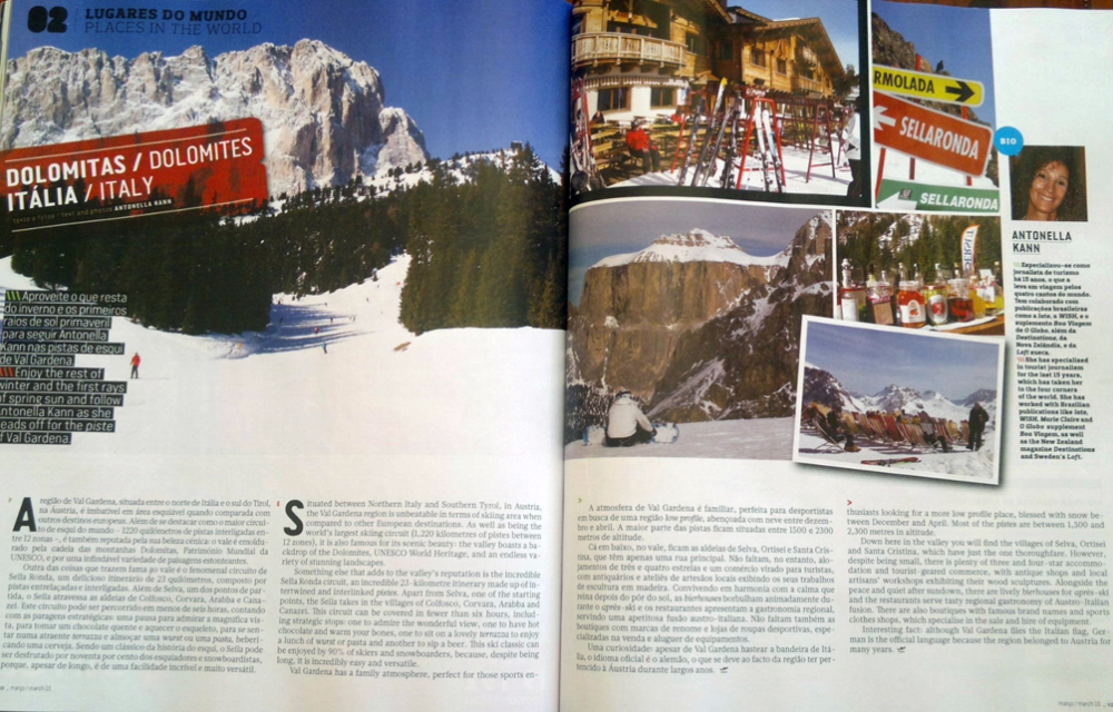 Recent article March 2013 about The Dolomites in Italy / TAP Airline magazine