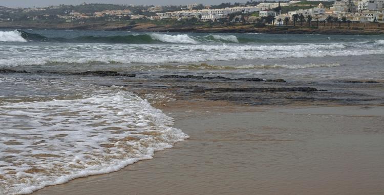 The sea and the town Praya da Luz