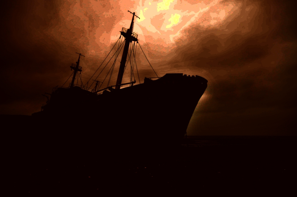 Ghost ship on Atlantic coast line