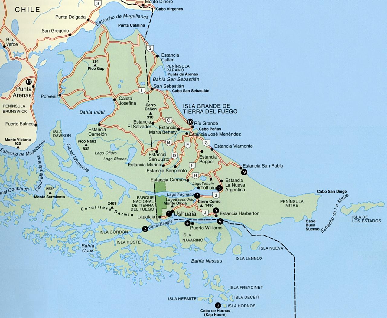 Getting Around The Old Indian Country Vagabundear De Isla Grande - Argentina map tierra del fuego