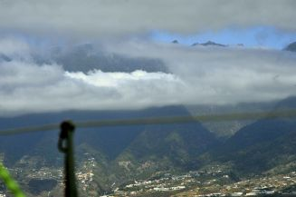 La Palma scenery behind low floating clouds
